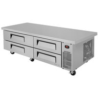 Turbo Air TCBE-72SDR-E 72 inch Four Drawer Refrigerated Chef Base with Extended Top - 15.1 cu. ft.