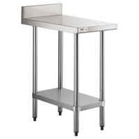Regency 30 inch x 18 inch 18-Gauge 304 Stainless Steel Equipment Filler Table with Backsplash and Galvanized Undershelf