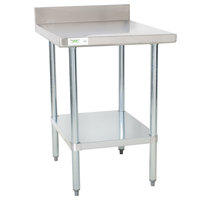 Regency 30 inch x 24 inch 18-Gauge 304 Stainless Steel Equipment Filler Table with Backsplash and Galvanized Undershelf