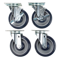 Hatco HDW-CASTER-5 Equivalent 5 inch Swivel Plate Casters with Brake - 4/Set