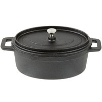 American Metalcraft CIPOV745 7 inch x 4 1/2 inch Oval Cast Iron Mini Pot