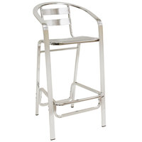 American Tables & Seating 55-BS Aluminum Bar Stool with Slat Back and Seat