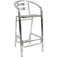American Tables & Seating 55BS Aluminum Bar Stool - Slat Back and Seat