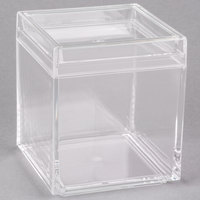 American Metalcraft LSSB4 26 oz. Square Acrylic Jar with Lid