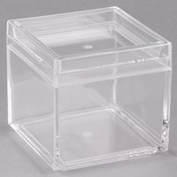 American Metalcraft MSSB4 21 oz. Square Acrylic Jar with Lid