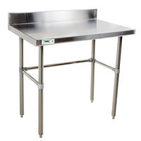 "Regency 30"" x 36"" 16-Gauge 304 Stainless Steel Commercial Open Base Work Table with 4"" Backsplash"