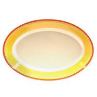 Homer Laughlin 1538082 Martiques 9 1/2 inch Rolled Edge Oval Platter - 24/Case