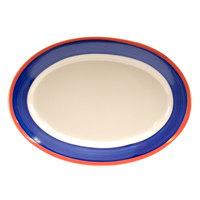 Homer Laughlin 1538072 Sovona 9 1/2 inch Rolled Edge Oval Platter - 24/Case