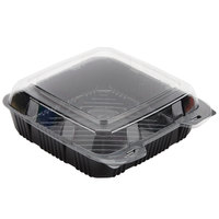 Polar Pak 29579 9 inch x 9 inch PET Black and Clear Hinged Take-out Container - 20/Pack