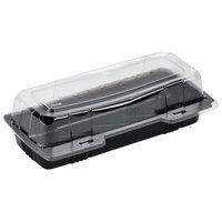 Polar Pak 29566 9 inch x 4 inch x 3 inch PET Black and Clear Hinged Hoagie / Sub Take-Out Container - 25/Pack