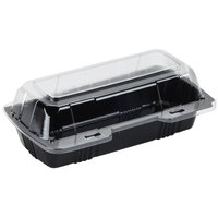Polar Pak 29565 8 inch x 4 inch x 3 inch PET Black and Clear Hinged Hoagie / Sub Take-Out Container - 25/Pack