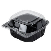 Par-Pak 29567 5 inch x 5 inch PET Black and Clear Hinged Take-out Container - 20 / Pack