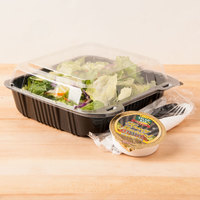 Par-Pak 29588 8 inch x 8 inch PET Black and Clear Hinged Take-out Container - 20 / Pack