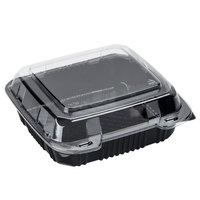 Polar Pak 29588 8 inch x 8 inch PET Black and Clear Hinged Take-out Container - 20/Pack