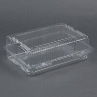 Par-Pak 2134 12 inch x 8 inch x 4 inch Jumbo Utility Clear Hinged Deep Takeout Container - 15 / Pack