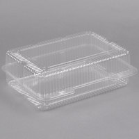 Polar Pak 2134 12 inch x 8 inch x 4 inch Jumbo Utility Clear Hinged Deep Takeout Container - 15/Pack