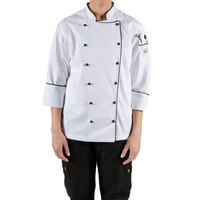 Chef Revival Gold LJ044-S Ladies Chef-Tex Size 4 (S) Customizable Poly-Cotton Brigade Jacket with Black Piping