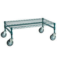 Regency 24 inch x 36 inch x 14 inch Green Epoxy Coated Mobile Dunnage Rack Kit with Tubular Frame - 600 lb. Capacity