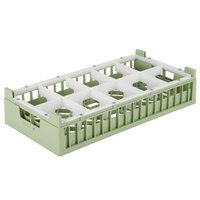 Vollrath 52810 Signature Half-Size Light Green 10-Compartment 4 1/8 inch Short Rack