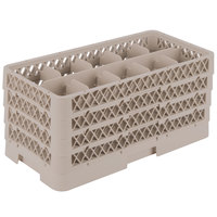 Vollrath HR1C1CCC Traex® Half-Size Beige 10 Compartment 9 1/16 inch Tall Glass Rack