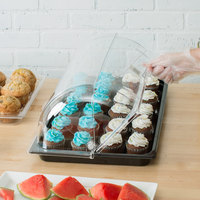 Sample and Display Tray Kit with Black Polycarbonate Tray and Roll Top Cover - 12 inch x 20 inch