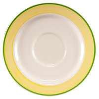 Homer Laughlin 2825078 Sunflower and Shamrock 6 inch Rolled Edge Boston Saucer - 36/Case