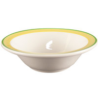 Homer Laughlin 1655078 Sunflower and Shamrock 3.25 oz. Rolled Edge Fruit Bowl - 36/Case