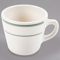 Homer Laughlin 1070001 Green Band Rolled Edge 6.75 oz. Virginia Cup - 36/Case
