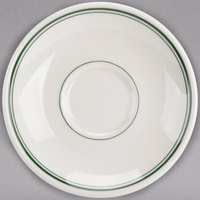 Homer Laughlin 2820001 Green Band Rolled Edge 6 inch Boston Saucer - 36/Case