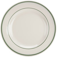 Homer Laughlin 2090001 Green Band Rolled Edge 10 1/4 inch Plate - 12/Case