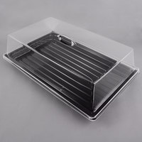 Sample and Display Tray Kit with Black Polycarbonate Tray and Acrylic Rectangular Cover - 12 inch x 20 inch