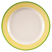 Homer Laughlin 2085078 Sunflower and Shamrock 11 1/8 inch Rolled Edge Plate - 12/Case