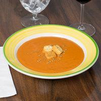 Homer Laughlin 2535078 Sunflower and Shamrock 12.75 oz. Rolled Edge Rim Soup Bowl - 24/Case