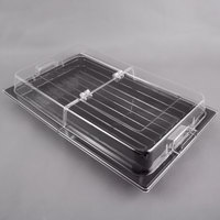 Sample and Display Tray Kit with Black Polycarbonate Tray and Hinged Cover - 12 inch x 20 inch