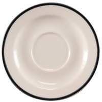Homer Laughlin 6556030 Pristine with Kerry Black Rim 5 3/4 inch Round China Saucer - 36/Case