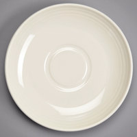 Homer Laughlin 13149200 FlipSide 6 1/2 inch Ivory (American White) Embossed China Saucer - 36/Case