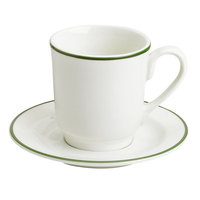 Homer Laughlin 6546029 Pristine with Kerry Green Rim 8 oz. Tall China Cup - 36/Case