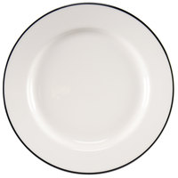 Homer Laughlin 6406030 Pristine with Kerry Black Rim 11 1/8 inch Round China Plate - 12 / Case