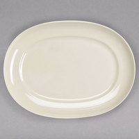 Homer Laughlin by Steelite International HL12252100 RE-21 14 inch x 10 3/8 inch Ivory (American White) Oval China Platter - 12/Case