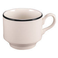 Homer Laughlin 6536030 Pristine with Kerry Black Rim 8 oz. Stackable China Cup - 36/Case