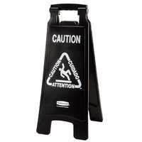 Rubbermaid 1867505 Executive 25 inch Black 2-Sided Multi-Lingual Caution Sign