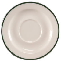 Homer Laughlin 6556029 Pristine with Kerry Green Rim 5 3/4 inch Round China Saucer - 36/Case