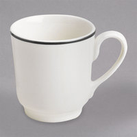 Homer Laughlin 6546030 Pristine with Kerry Black Rim 8 oz. Tall China Cup - 36/Case