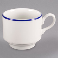 Homer Laughlin 6536031 Pristine with Kerry Cobalt Blue Rim 8 oz. Stackable China Cup - 36/Case