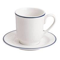 Homer Laughlin 6546031 Pristine with Kerry Cobalt Blue Rim 8 oz. Tall China Cup - 36/Case