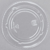 Fabri-Kal Kal-Clear/Nexclear LKC12/20F 5 oz. Clear PET Flat Lid for Alur RD5 5 oz. Customizable Clear PET Plastic Round Deli Container - 100/Pack