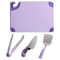 San Jamar ASZ121812SYS Saf-T-Zone™ 18 inch x 12 inch x 1/2 inch Purple Allergen System Cutting Board Set