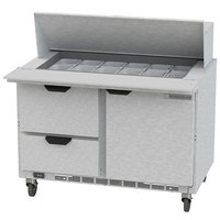 Beverage Air SPED48HC-18M-2 48 inch 1 Door 2 Drawer Mega Top Refrigerated Sandwich Prep Table