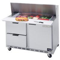 Beverage Air SPED48-18M-2 48 inch 1 Door 2 Drawer Mega Top Refrigerated Sandwich Prep Table