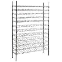Regency 14 inch x 48 inch 12 Shelf Wire Wine Rack with 74 inch Posts